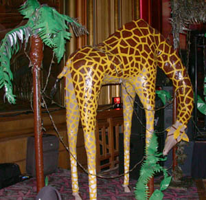(right) This full-sized giraffe was created for the Cleveland Zoo Boo by  Nick Hiltner, a student at the Cleveland Institute of Art. It took  approximately ...